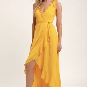 BNWT Lulu's Juliette Yellow Wrap Dress
